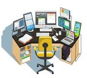 Рабочее место программиста на белой предпосылке вектор бесплатная иллюстрация