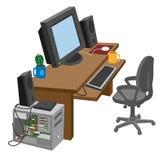 Рабочее место с компьютером иллюстрация штока
