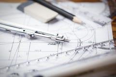 Рабочее место - технический чертеж проекта с инструментами инженерства Стоковое Изображение RF