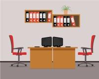 Рабочее место для 2 работников офиса в красных цветах Стоковое Изображение RF