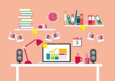 Рабочие места или стол и оборудования для работы в офисе, плоской линии векторе и иллюстрации бесплатная иллюстрация