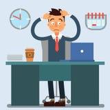 Рабочий день бизнесмена Бизнесмен на работе белизна офиса жизни фонового изображения 3d Стоковые Фотографии RF
