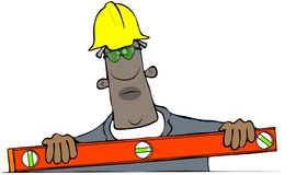 Рабочий-строитель используя уровень Стоковые Фотографии RF