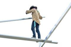 Рабочий-строители работая на стали Стоковое Изображение RF