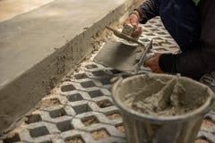 Рабочий-строители Таиланда штукатурили Стоковые Фотографии RF