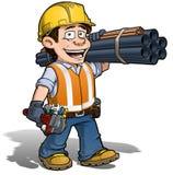 Рабочий-строитель - водопроводчик Стоковое Изображение