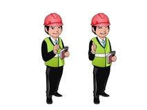 Рабочий-строитель, инженер или архитектор держа книгу проектов Персонаж из мультфильма - иллюстрация вектора Стоковые Фото