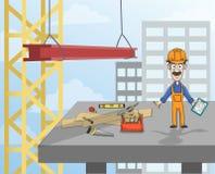 Рабочий-строитель на платформе Стоковое Изображение