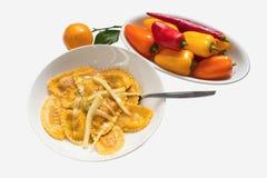 Равиоли с томатом и рикоттой и паприкой Стоковые Изображения RF