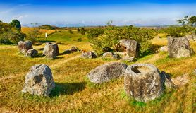 Равнина опарников Лаос панорама Стоковое фото RF