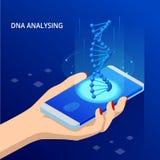 Равновеликая винтовая линия ДНК, ДНК анализируя концепцию цифровое предпосылки голубое Нововведение, медицина, и технология auric бесплатная иллюстрация