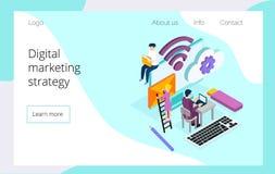 Равновеликая команда специалистов работая на странице цифровой маркетинговой стратегии приземляясь иллюстрация штока
