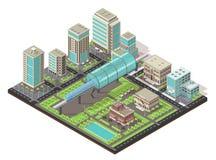 Равновеликая концепция городского пейзажа Стоковые Фото