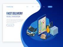 Равновеликая онлайн срочная, свободная, быстрая поставка, грузя концепция Проверять обслуживание поставки app на мобильном телефо Стоковое Изображение