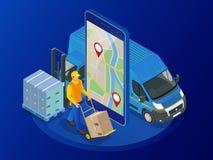 Равновеликая онлайн срочная, свободная, быстрая поставка, грузя концепция Проверять обслуживание поставки app на мобильном телефо Стоковая Фотография