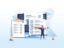Равновеликая плоская концепция вектора онлайн экзамена, формы вопросника, онлайн образования, обзора, викторины интернета бесплатная иллюстрация