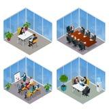 Равновеликие бизнесмены говоря конференц-зал конференции Процесс работы команды Встреча сыгранности руководства бизнесом и иллюстрация штока