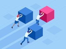 Равновеликие бизнесмены нажимая кубы Победитель легко двигая куб Выигрышная стратегия, эффективность, нововведение внутри иллюстрация вектора