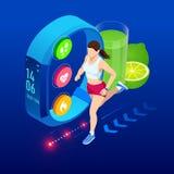 Равновеликие браслет фитнеса или отслежыватель со смартфоном, спортсмен бежать outdoors Jogging и идущее infographics иллюстрация вектора