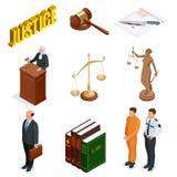 Равновеликие закон и правосудие Символы правовых регулирований Юридические установленные значки Законное юридическое, трибунал и  иллюстрация вектора