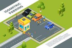 Равновеликие иллюстрации городской оплаченной автостоянки с различными автомобилями иллюстрация вектора