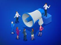 Равновеликие мегафон и люди Маркетинг цифров, маркетинг блога, столб деля, социальные средства массовой информации блога выходя к Стоковые Изображения RF