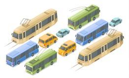 Равновеликие публика и пассажирский транспорт vector значки иллюстрации современных шин, автомобилей и трамвая или троллейбуса иллюстрация вектора