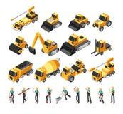 Равновеликие рабочий-строители, строя комплект вектора машин и оборудование 3d бесплатная иллюстрация