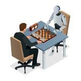 Равновеликие шахматы с концепцией искусственного интеллекта Технология искусственного интеллекта Рука робота играет шахмат иллюстрация вектора
