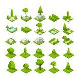 Равновеликие элементы природы 3d Деревья и заводы парка леса и города Графики карты вектора Стоковые Изображения
