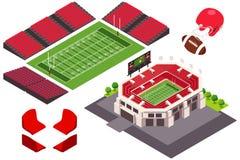 Равновеликий взгляд иллюстрации футбольного стадиона Стоковые Изображения RF