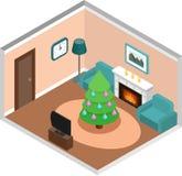 Равновеликий интерьер живущей комнаты с рождественской елкой вектор бесплатная иллюстрация