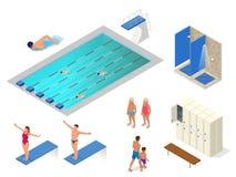 Равновеликий комплект вектора бассейна, пловцов, ливней в значках элементов спортзала, шкафчика и раздевалки здоровье Стоковые Изображения RF