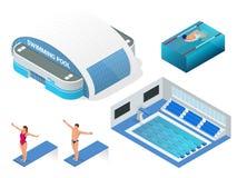 Равновеликий комплект вектора современного бассейна для водных видов спорта, бассейна здания, значков элементов пловцов здоровье Стоковое Фото