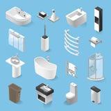 Равновеликий комплект вектора элементов ванной комнаты изолированный от предпосылки иллюстрация вектора