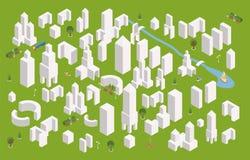 Равновеликий конструктор городка установил для создания вашей карты города Простые minimalistic офисные здания конструируют бесплатная иллюстрация