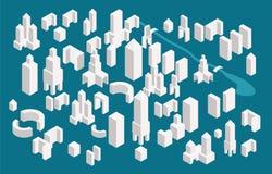 Равновеликий конструктор городка установил для создания вашей карты города Простые minimalistic офисные здания конструируют иллюстрация вектора