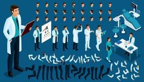 Равновеликий конструктор доктора, хирурга с комплектом жестов и эмоций Создайте ваш характер иллюстрация вектора