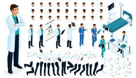 Равновеликий конструктор доктора, хирурга с комплектом жестов и эмоций Создайте ваш характер иллюстрация штока