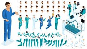 Равновеликий конструктор доктора, хирурга с комплектом жестов и эмоций Создайте ваш характер бесплатная иллюстрация