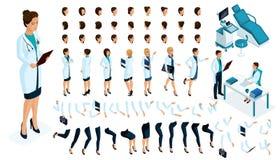 Равновеликий конструктор женский доктор, хирург с комплектом жестов и эмоции Создайте ваш характер бесплатная иллюстрация