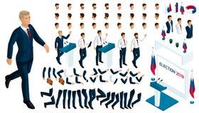Равновеликий конструктор президента с набором жестов и эмоций Создайте ваш характер в равновеликом бесплатная иллюстрация