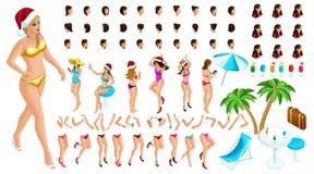 Равновеликий конструктор характера, танцуя девушка для иллюстраций рождества на пляже, с набором эмоций иллюстрация штока