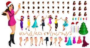 Равновеликий конструктор характера, танцуя девушка для рождества, с набором эмоций, стилей причесок, жестов рук и ног иллюстрация штока