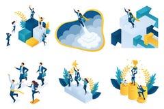 Равновеликий набор концепций на теме успеха, успешный руководитель, достижение цели иллюстрация вектора