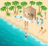 Равновеликий пляж моря с красивым баром и ослабляя людьми, пары идет вдоль берега лазурного океана иллюстрация вектора