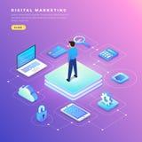 Равновеликий цифровой маркетинг бесплатная иллюстрация