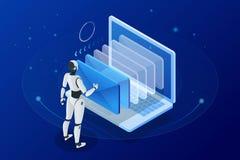Равновеликий человек роботов при искусственный интеллект работая с виртуальным интерфейсом в электронных почтах chatbot Сообщение Стоковые Фотографии RF
