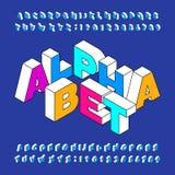 Равновеликий шрифт алфавита Жирные буквы и номера пространственного эффекта Стоковое Изображение RF