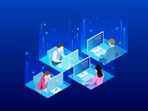 4 равновеликих работника офиса в офисе Концепция космоса дела со-работая Коллеги дела работая на занятом бесплатная иллюстрация